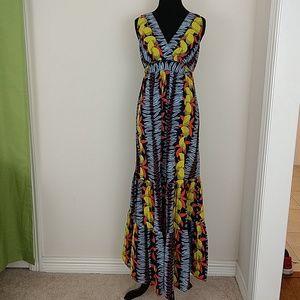 Cabit Tropical Floral Print Ruffle Maxi Dress Sz S